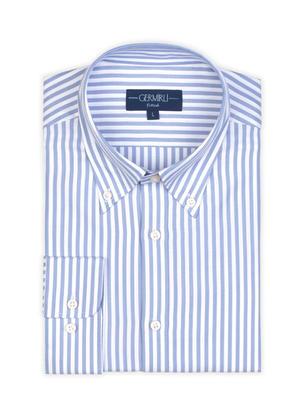 Germirli - Germirli Mavi Beyaz Çizgili Düğmeli Yaka Tailor Fit Tencel Gömlek (1)