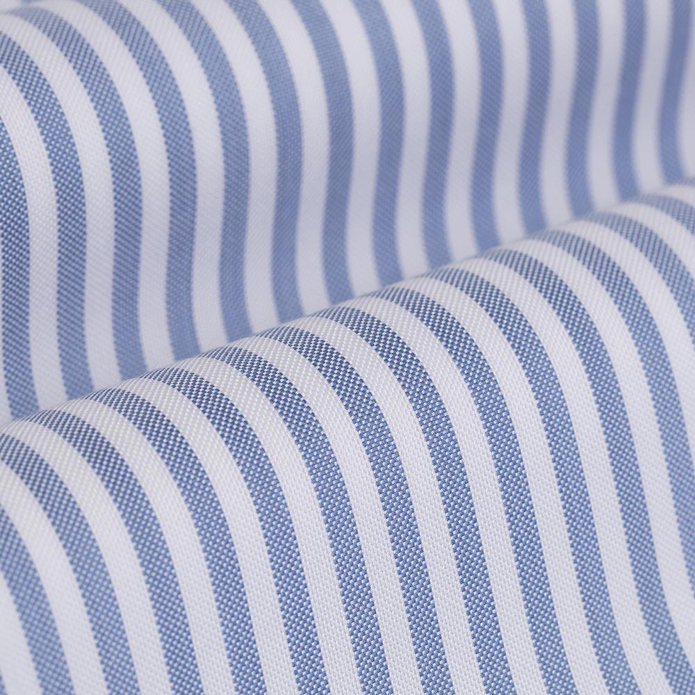 Germirli Mavi Beyaz Çizgili Düğmeli Yaka Tailor Fit Tencel Gömlek