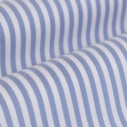 Germirli Mavi Beyaz Çizgili Düğmeli Yaka Tailor Fit Tencel Gömlek - Thumbnail
