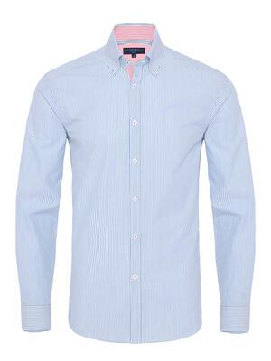 Germirli Mavi Beyaz Çizgili Düğmeli Yaka Tailor Fit Gömlek