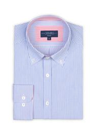 Germirli Mavi Beyaz Çizgili Düğmeli Yaka Tailor Fit Gömlek - Thumbnail