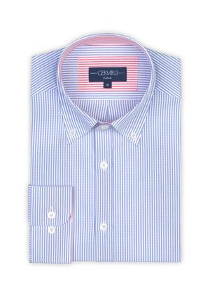 Germirli - Germirli Mavi Beyaz Çizgili Düğmeli Yaka Tailor Fit Gömlek (1)