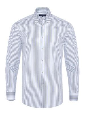 Germirli - Germirli Mavi Beyaz Çizgili Düğmeli Yaka Tailor Fit Yoga Gömlek