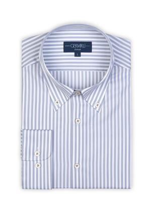 Germirli - Germirli Mavi Beyaz Çizgili Düğmeli Yaka Tailor Fit Yoga Gömlek (1)