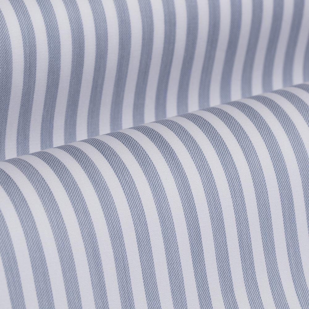 Germirli Mavi Beyaz Çizgili Düğmeli Yaka Tailor Fit Yoga Gömlek