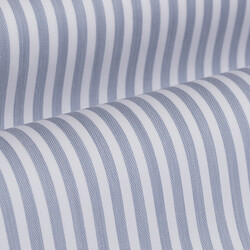 Germirli Mavi Beyaz Çizgili Düğmeli Yaka Tailor Fit Yoga Gömlek - Thumbnail