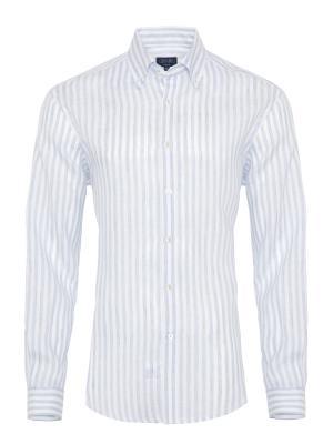 Germirli - Germirli Mavi Beyaz Çizgili Keten Düğmeli Yaka Tailor Fit Gömlek