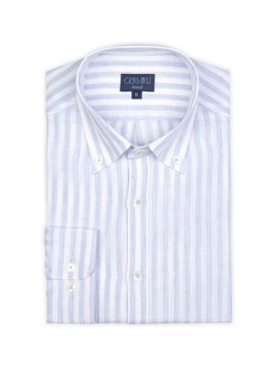 Germirli - Germirli Mavi Beyaz Çizgili Keten Düğmeli Yaka Tailor Fit Gömlek (1)