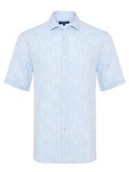 Germirli - Germirli Mavi Beyaz Çizgili Seersucker Kısa Kollu Tailor Fit Gömlek