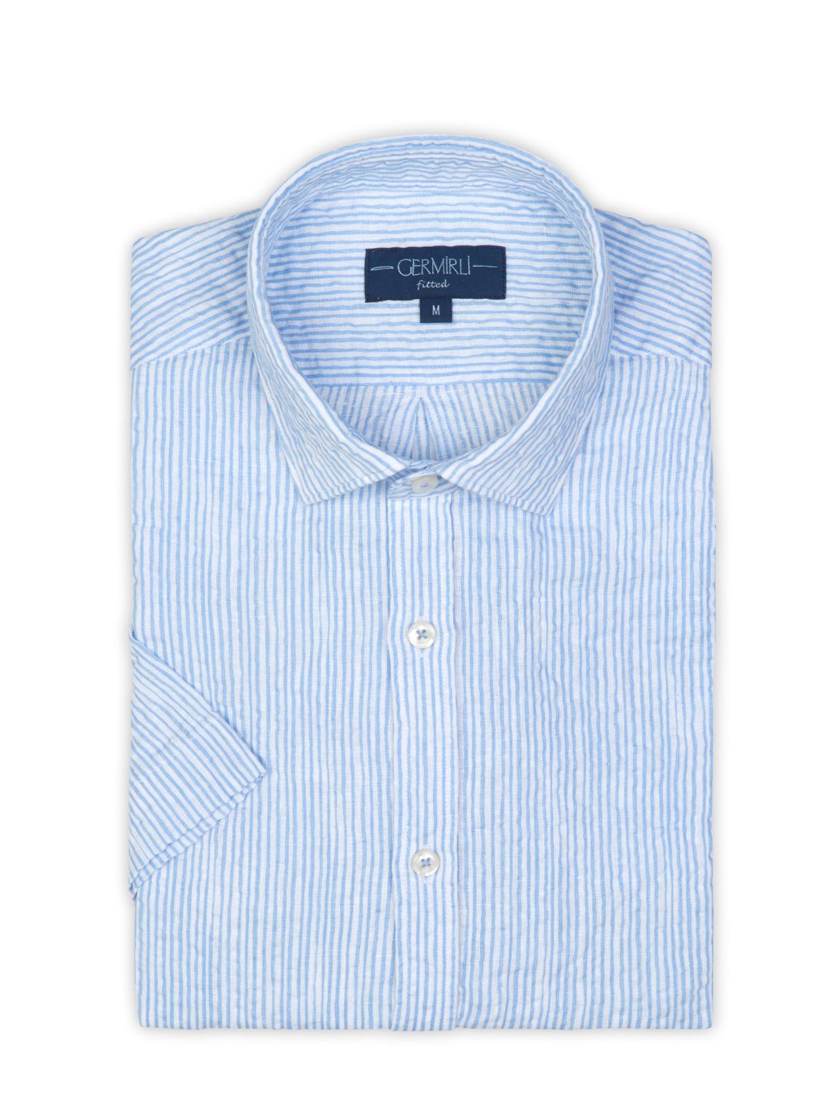 Germirli Mavi Beyaz Çizgili Seersucker Kısa Kollu Tailor Fit Gömlek