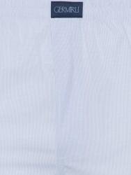 Germirli Mavi Beyaz Desenli Pamuk Boxer Şort - Thumbnail
