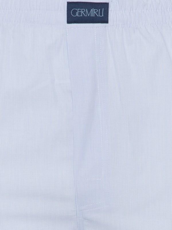 Germirli - Germirli Mavi Beyaz Desenli Pamuk Boxer Şort (1)