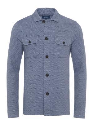Germirli - Germirli Mavi Beyaz Dokulu Örme Tailor Fit Ceket Gömlek (1)