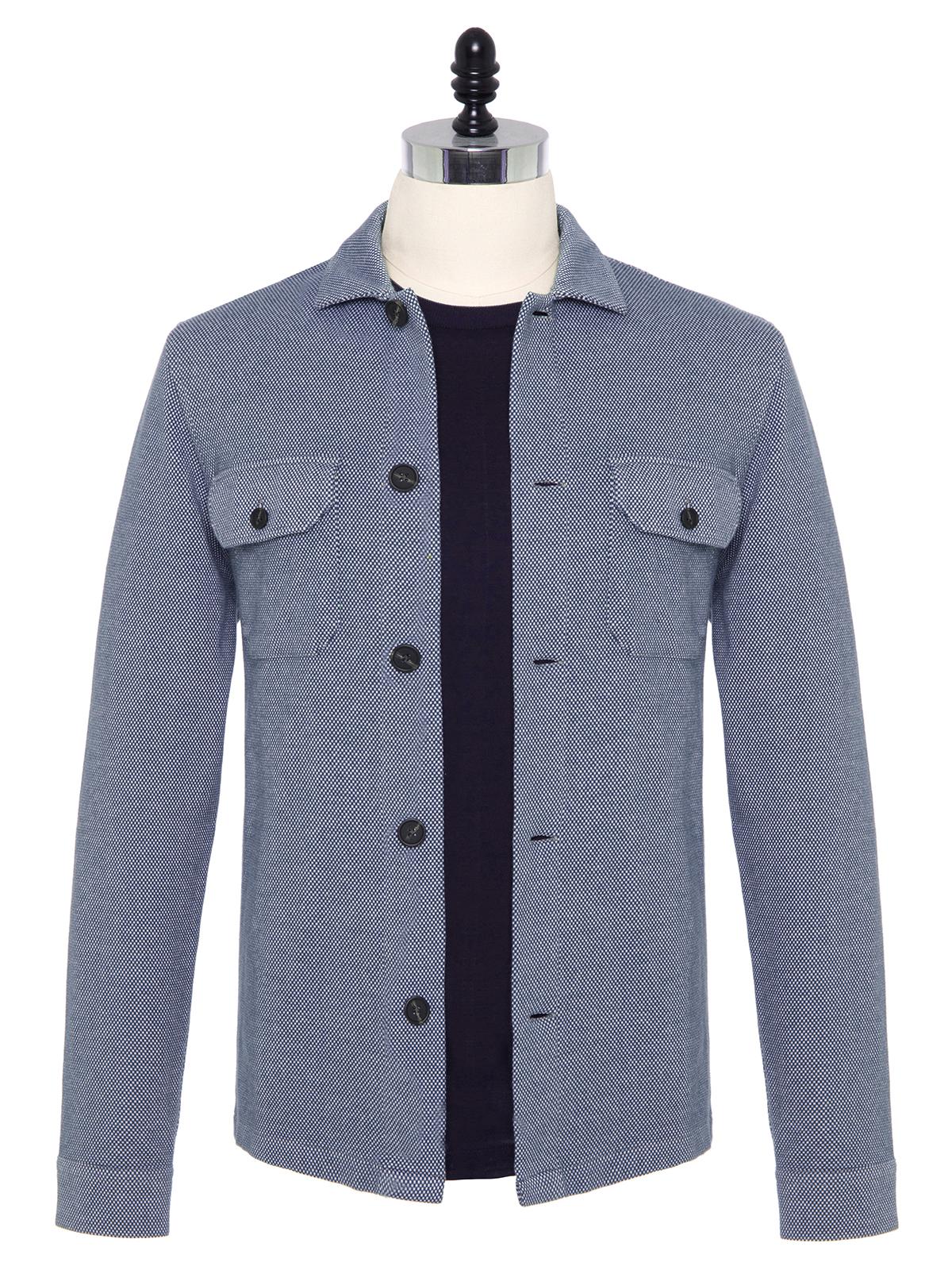 Germirli - Germirli Mavi Beyaz Dokulu Örme Tailor Fit Ceket Gömlek