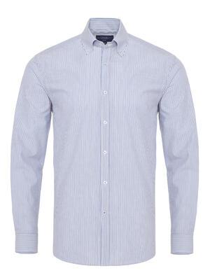 Germirli Mavi Beyaz İnce Çizgili Düğmeli Yaka Tailor Fit Gömlek