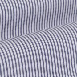 Germirli Mavi Beyaz İnce Çizgili Düğmeli Yaka Tailor Fit Gömlek - Thumbnail