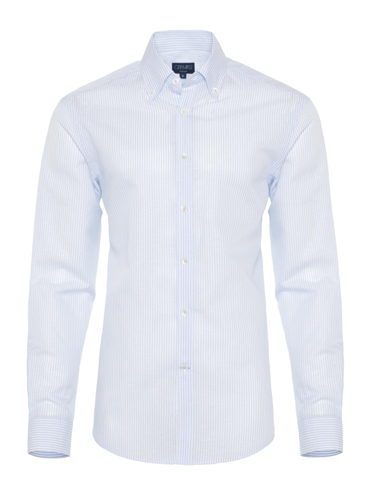 Germirli Mavi Beyaz Ince Çizgili Keten Düğmeli Yaka Tailor Fit Gömlek