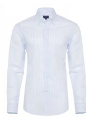 Germirli Mavi Beyaz Ince Çizgili Keten Düğmeli Yaka Tailor Fit Gömlek - Thumbnail