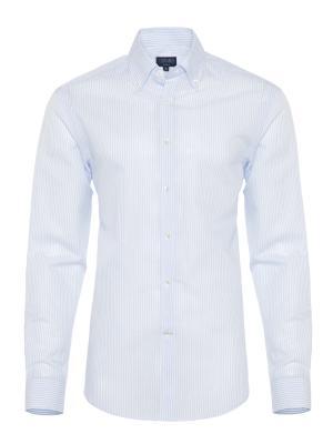 Germirli - Germirli Mavi Beyaz Ince Çizgili Keten Düğmeli Yaka Tailor Fit Gömlek