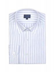 Germirli - Germirli Mavi Beyaz Ince Çizgili Keten Düğmeli Yaka Tailor Fit Gömlek (1)