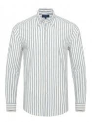 Germirli Mavi Beyaz Kalın Çizgili Düğmeli Yaka Tailor Fit Gömlek - Thumbnail