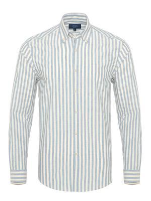 Germirli Mavi Beyaz Kalın Çizgili Düğmeli Yaka Tailor Fit Gömlek