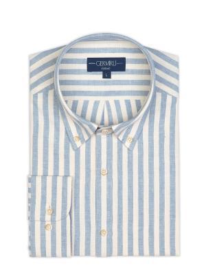 Germirli - Germirli Mavi Beyaz Kalın Çizgili Düğmeli Yaka Tailor Fit Gömlek (1)