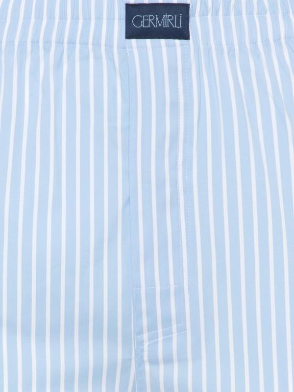 Germirli - Germirli Mavi Beyaz Kalın Çizgili Pamuklu Elastan Boxer Şort (1)