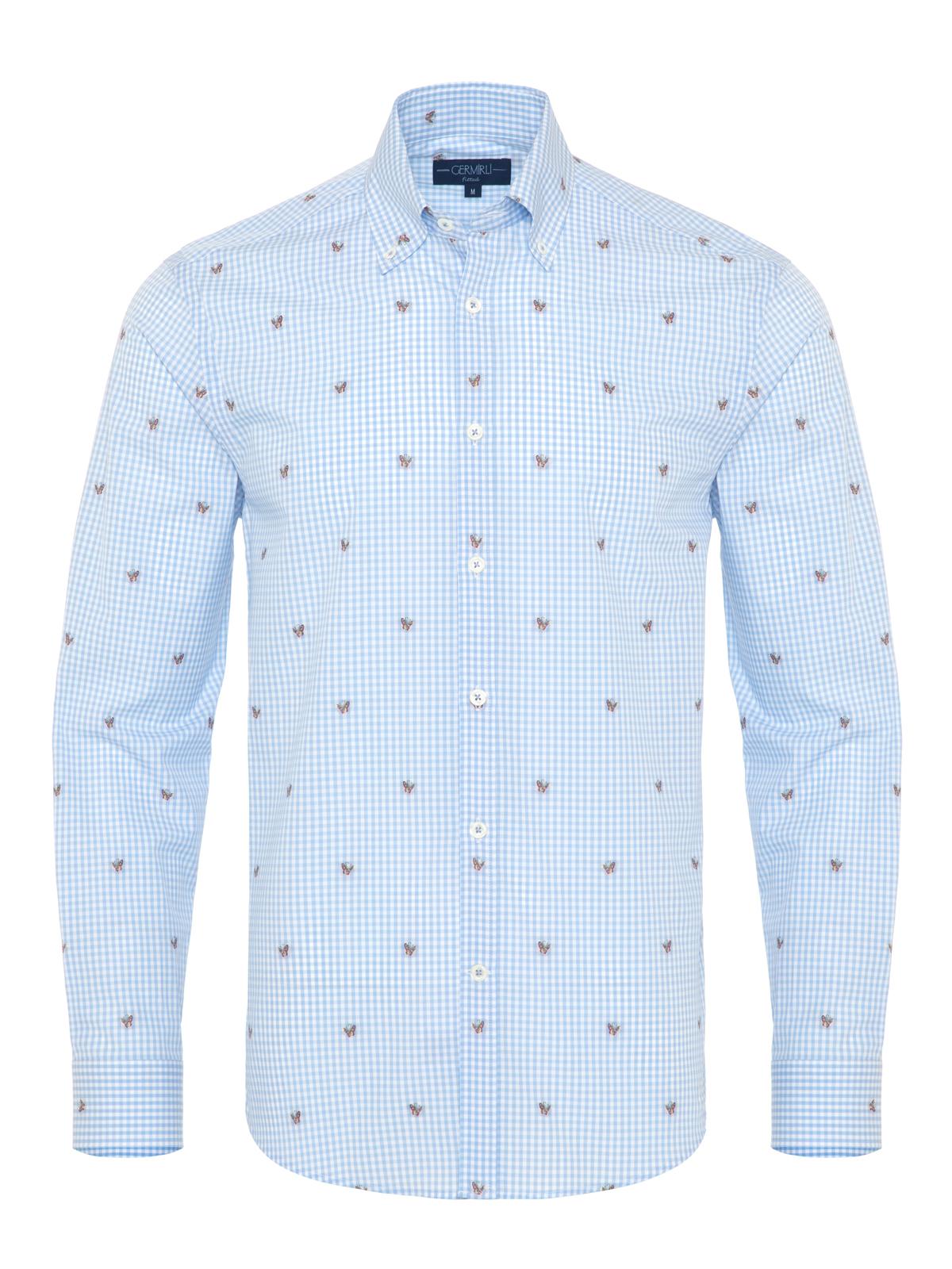 Germirli Mavi Beyaz Kareli Kelebek İşlemeli Düğmeli Yaka Tailor Fit Gömlek