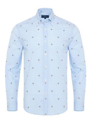 Germirli - Germirli Mavi Beyaz Kareli Kelebek İşlemeli Düğmeli Yaka Tailor Fit Gömlek