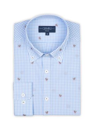 Germirli - Germirli Mavi Beyaz Kareli Kelebek İşlemeli Düğmeli Yaka Tailor Fit Gömlek (1)