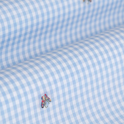Germirli Mavi Beyaz Kareli Kelebek İşlemeli Düğmeli Yaka Tailor Fit Gömlek - Thumbnail