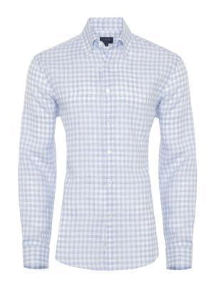 Germirli - Germirli Mavi Beyaz Kareli Delave Keten Düğmeli Yaka Tailor Fit Gömlek
