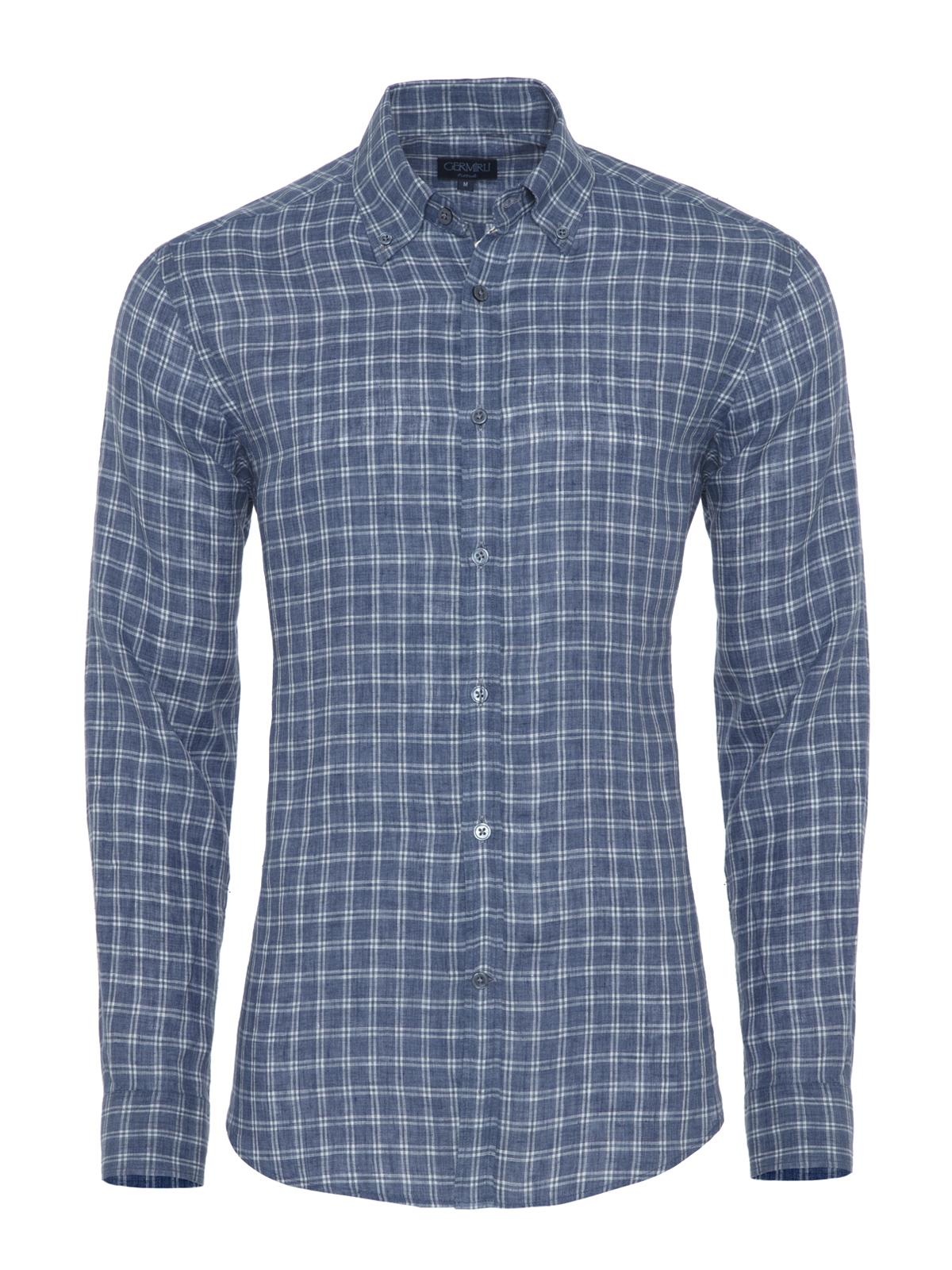 Germirli Mavi Beyaz Kareli Delave Keten Düğmeli Yaka Tailor Fit Gömlek
