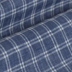 Germirli Mavi Beyaz Kareli Delave Keten Düğmeli Yaka Tailor Fit Gömlek - Thumbnail