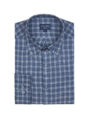 Germirli - Germirli Mavi Beyaz Kareli Delave Keten Düğmeli Yaka Tailor Fit Gömlek (1)
