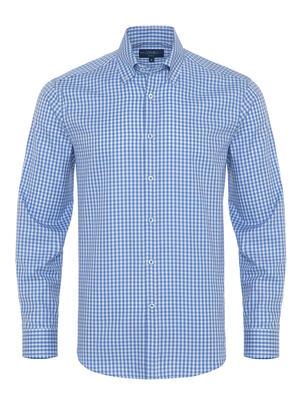 Germirli - Germirli Mavi Beyaz Kareli Düğmeli Yaka Tailor Fit Gömlek