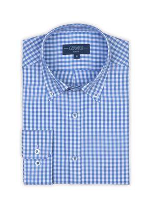 Germirli - Germirli Mavi Beyaz Kareli Düğmeli Yaka Tailor Fit Gömlek (1)