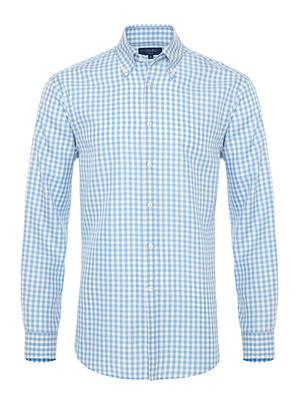 Germirli - Germirli Mavi Beyaz Kareli Düğmeli Yaka Tailor Fit Tencel Gömlek