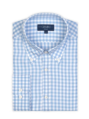 Germirli - Germirli Mavi Beyaz Kareli Düğmeli Yaka Tailor Fit Tencel Gömlek (1)