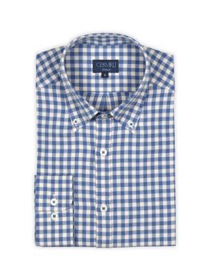 Germirli - Germirli Mavi Beyaz Kareli Flanel Tailor Fit Gömlek (1)