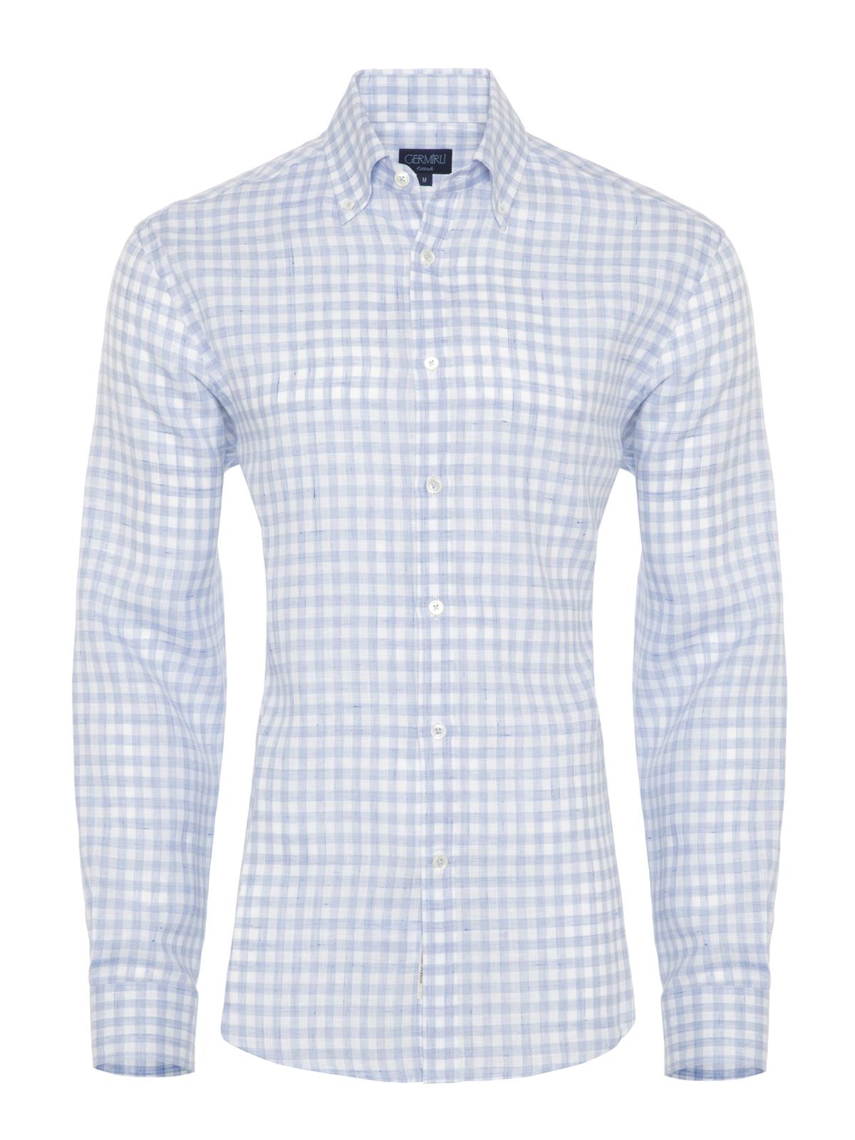 Germirli Mavi Beyaz Kareli Keten Düğmeli Yaka Tailor Fit Gömlek