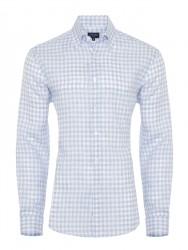 Germirli Mavi Beyaz Kareli Keten Düğmeli Yaka Tailor Fit Gömlek - Thumbnail