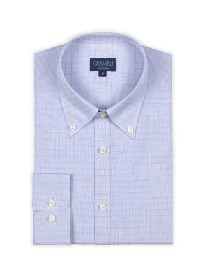Germirli - Germirli Mavi Beyaz Kareli Tailor Fit Gömlek (1)