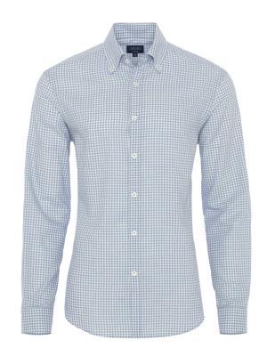 Germirli - Germirli Mavi Beyaz Kareli Tailor Fit Gömlek