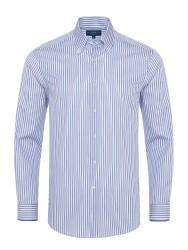 Germirli - Germirli Mavi Beyaz Lacivert Çizgili Düğmeli Yaka Tailor Fit Gömlek