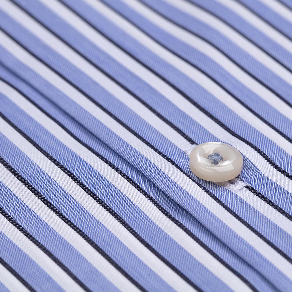 Germirli Mavi Beyaz Lacivert Çizgili Düğmeli Yaka Tailor Fit Gömlek