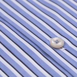 Germirli Mavi Beyaz Lacivert Çizgili Düğmeli Yaka Tailor Fit Gömlek - Thumbnail