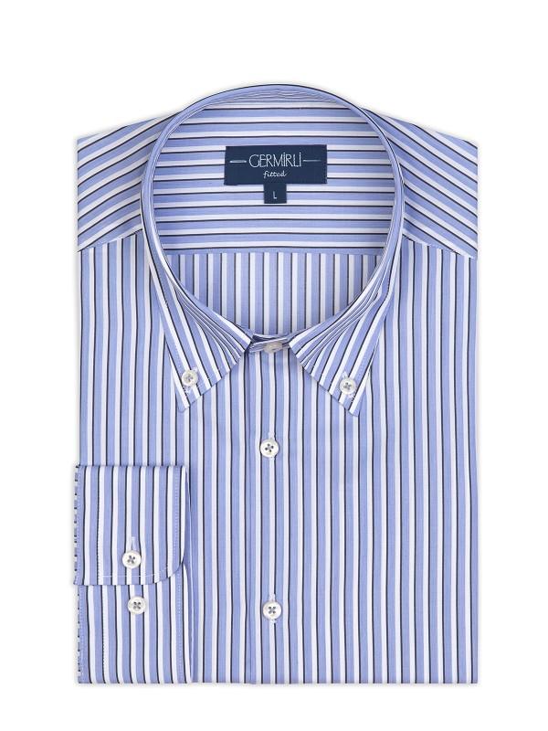 Germirli - Germirli Mavi Beyaz Lacivert Çizgili Düğmeli Yaka Tailor Fit Gömlek (1)