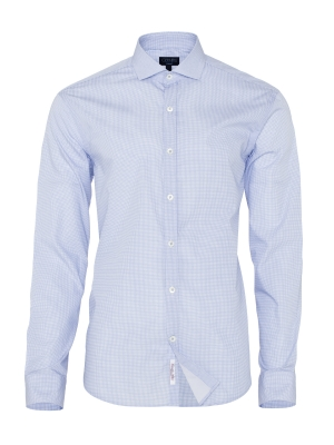 Germirli - Germirli Mavi Beyaz Micro Desenli Klasik Yaka Tailor Fit Gömlek